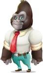 Business Gorilla Cartoon Vector Character - Smiling