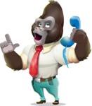 Business Gorilla Cartoon Vector Character - Talking on phone