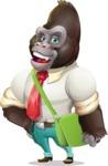 Business Gorilla Cartoon Vector Character - Traveling