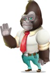 Business Gorilla Cartoon Vector Character - Waving for Goodbye with a hand