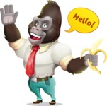 Business Gorilla Cartoon Vector Character - Waving for Hello with a hand