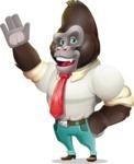 Business Gorilla Cartoon Vector Character - Waving