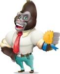 Business Gorilla Cartoon Vector Character - Winning prize