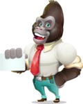 Business Gorilla Cartoon Vector Character - with a Blank Business card