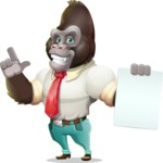 Business Gorilla Cartoon Vector Character - with a Blank paper