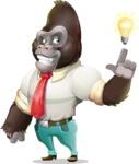 Business Gorilla Cartoon Vector Character - with a Light bulb