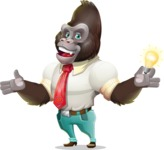 Business Gorilla Cartoon Vector Character - with an Idea