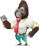 Business Gorilla Cartoon Vector Character - with Angry face