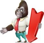 Business Gorilla Cartoon Vector Character - with Arrow going Down