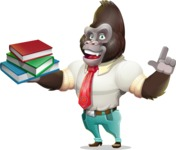 Business Gorilla Cartoon Vector Character - with Books