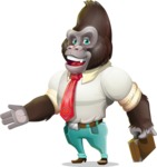 Business Gorilla Cartoon Vector Character - with Briefcase