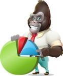 Business Gorilla Cartoon Vector Character - with Business graph