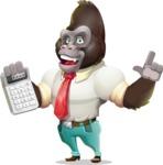 Business Gorilla Cartoon Vector Character - with Calculator