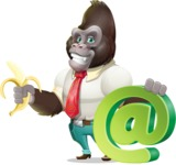 Business Gorilla Cartoon Vector Character - with Email sign