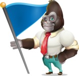 Business Gorilla Cartoon Vector Character - with Flag
