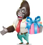Business Gorilla Cartoon Vector Character - with Gift box