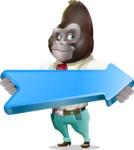Business Gorilla Cartoon Vector Character - with Positive arrow