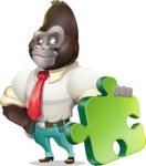 Business Gorilla Cartoon Vector Character - with Puzzle