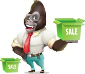 Business Gorilla Cartoon Vector Character - with Sale boxes