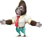 Business Gorilla Cartoon Vector Character - with Stunned face