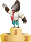 Business Gorilla Cartoon Vector Character - with Success on Top