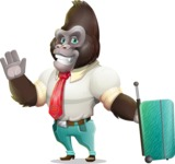 Business Gorilla Cartoon Vector Character - with Suitcase
