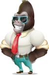 Business Gorilla Cartoon Vector Character - with Sunglasses