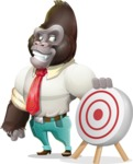 Business Gorilla Cartoon Vector Character - with Target