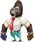 Business Gorilla Cartoon Vector Character - with Two briefcases
