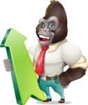 Business Gorilla Cartoon Vector Character - with Up arrow