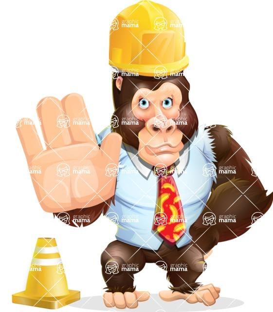 Funny Gorilla Cartoon Vector Character - as a Construction worker