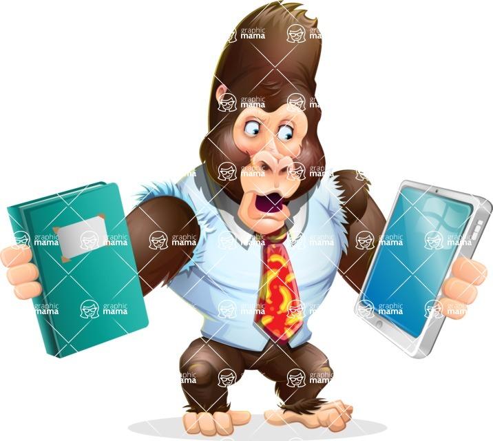 Funny Gorilla Cartoon Vector Character - Choosing between Book and Tablet