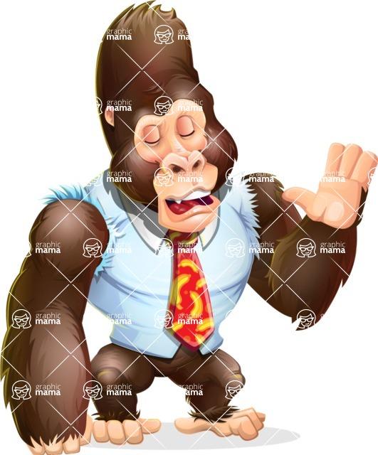 Funny Gorilla Cartoon Vector Character - Feeling Bored