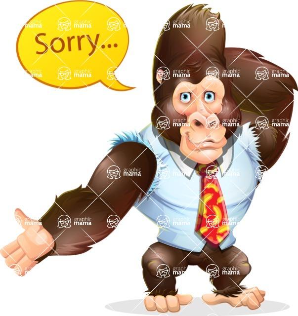 Funny Gorilla Cartoon Vector Character - Feeling sorry