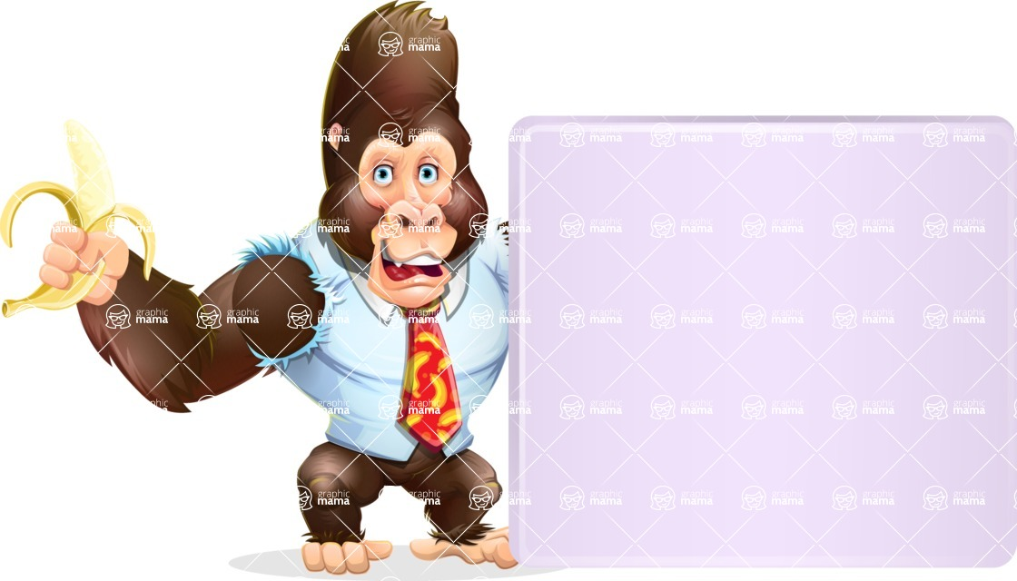 Funny Gorilla Cartoon Vector Character - Holding a Blank sign and Pointing