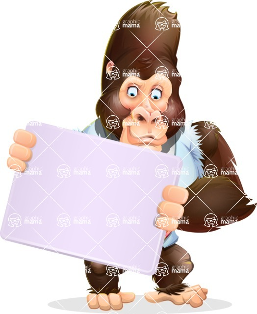 Funny Gorilla Cartoon Vector Character - Holding a Blank sign