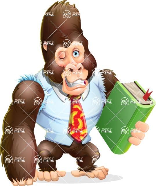 Funny Gorilla Cartoon Vector Character - Holding a book