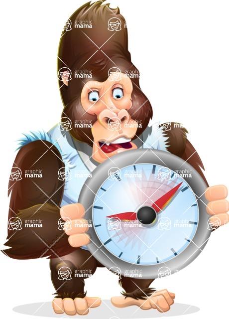 Funny Gorilla Cartoon Vector Character - Holding clock