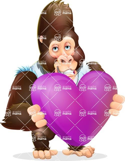 Funny Gorilla Cartoon Vector Character - Holding heart