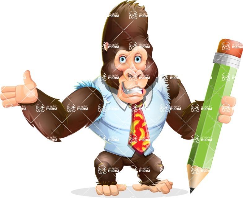 Funny Gorilla Cartoon Vector Character - Holding Pencil