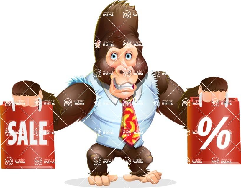 Funny Gorilla Cartoon Vector Character - Holding shopping bags