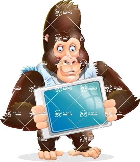 Funny Gorilla Cartoon Vector Character - Holding tablet