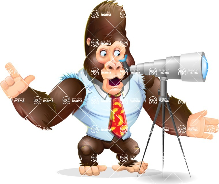 Funny Gorilla Cartoon Vector Character - Looking through telescope