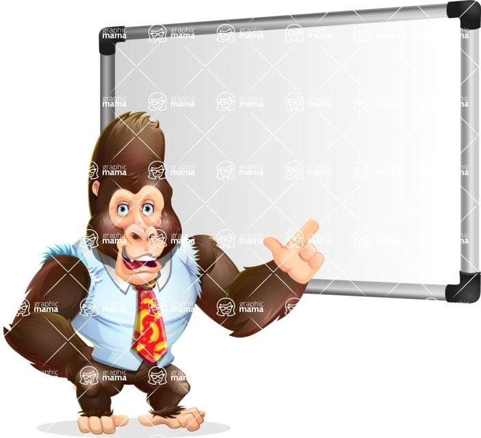 Funny Gorilla Cartoon Vector Character - Making a Presentation on a Blank white board
