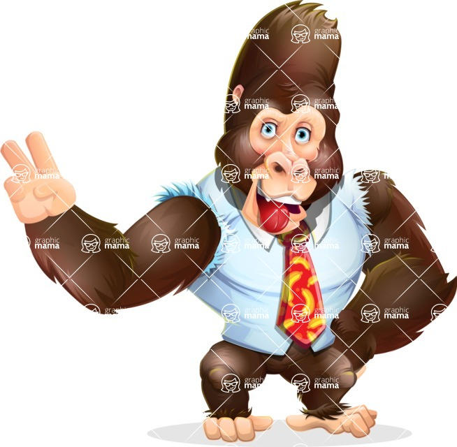 Funny Gorilla Cartoon Vector Character - Making Funny face