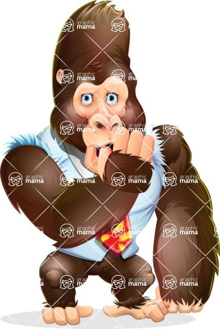 Funny Gorilla Cartoon Vector Character - Making Oops gesture