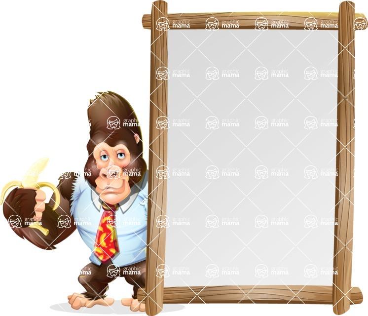 Funny Gorilla Cartoon Vector Character - Making peace sign with Big Presentation board