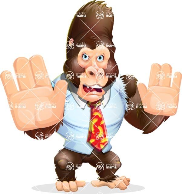 Funny Gorilla Cartoon Vector Character - Making stop gesture with both hands