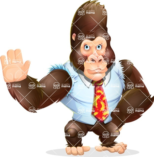 Funny Gorilla Cartoon Vector Character - Making stop with a hand