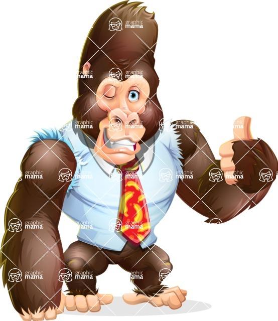 Funny Gorilla Cartoon Vector Character - Making Thumbs Up